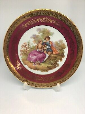 Beautiful Vintage French Limoges Porcelain  9 inch Plate Red and 24 k Gold.