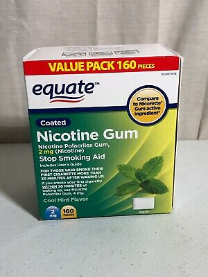 Equate Nicotine Gum Stop Smoking Aid 2mg 160 Count Cool Mint Flavor 04/2021+