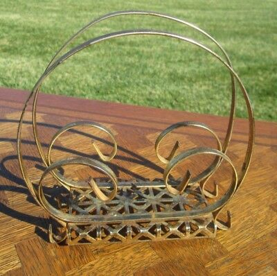 Vintage Mid Century 1950'S Retro Brass Plated Napkin Or Letter Holder