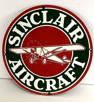 """Ande Rooney Porcelain Reproduction Sinclair Aircraft Gasoline Vtg Gas Sign 11"""""""