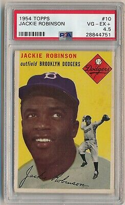 JACKIE ROBINSON 1954 Topps #10 Graded PSA 4.5 VG-EX+ BROOKLYN DODGERS HOF