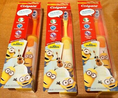 X3 Colgate Minions Talking Toothbrush - Helps Kids Brush Better Extra Soft New.
