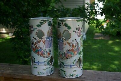 ANTIQUE qing  PAIR CHINESE PORCELAIN YONGZHENG HAT STANDS VASES FAMILLE ROSE