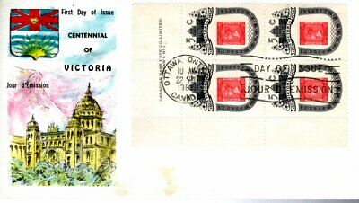 1962 #399 Victoria Centenary UL PL BLK FDC with Glory cachet unaddressed