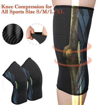 1Pair Knee Sleeve Compression Brace Support Fr Sport Joint Arthritis Pain Relief