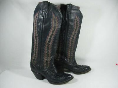 42fa637e768 VINTAGE LARRY MAHAN Knee High Ostrich Cowboy Boot Women size 6 Navy Leather