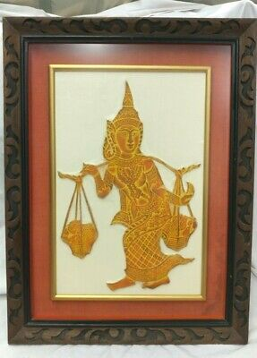 """Vintage 1960s Thai Temple Brown Matted Framed 3D TEMPLE RUBBING 25""""T x 19""""W"""