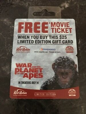 Red Robin War For The Planet Of The Apes Promo Gift Card Unused