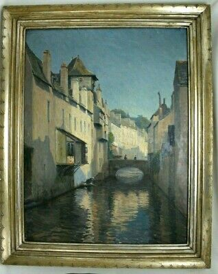 Ben Badura Carved Gilt Wood Frame & Early 20th Century Oil Painting Y Moren