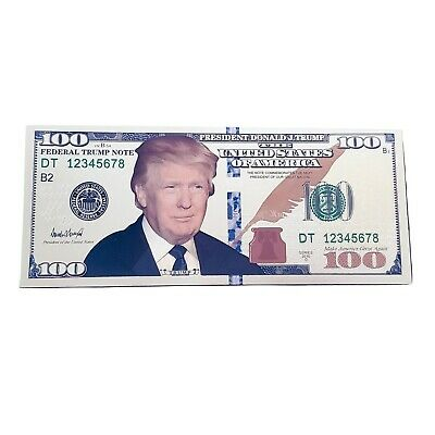 Donald Trump Face Gold Color Hundred Dollar Bill MAGA Funny Money with Holder