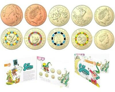 2019 Mr Squiggle 60th Anniversary - 7 Coin Set $1 & $2 Dollar UNC Coins Folder