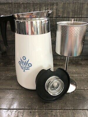 Vintage Corning Ware Cornflower Blue 9 Cup Stove Top Percolator Coffee Pot
