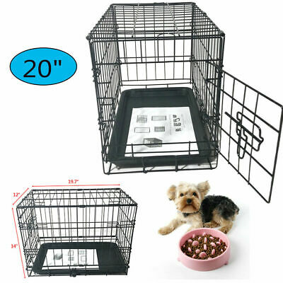 20'' Durable One Door Metal Pet Kennel Cat Dog Steel Crate Cage with Tray US