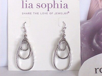 Lia Sophia FREE FLYER Dangle Oval Tiered Hoop Earrings, Silver Toned, NWT
