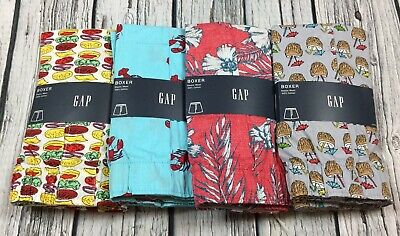 Gap Men Medium 32-34 Lot Of 4 Boxers. Coconut Cheeseburger Lobster Floral . Nwt