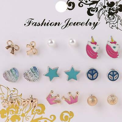 Hot 9 Pairs Cute Small Unicorn Butterfly Bowtie Stud Earring Set For Kids Girls