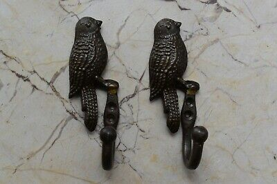 Vintage Cast Iron Old Bird figure Wall Hook School Cloth Towel Hanger 2 pcs