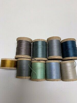 9 Vintage Antique Wooden Spool Sewing thread - Various Brands