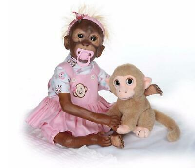 """20"""" Lovely Monkey Dolls Soft Silicone Vinyl Real Life Newborn Personality Gifts"""