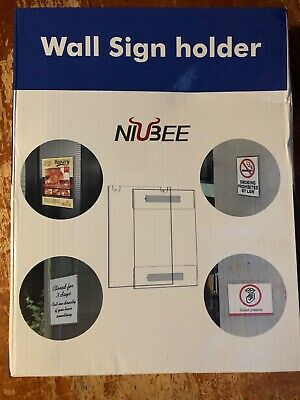 "NIUBEE 8.5"" 11"" Wall Mount Sign Holder, Clear Acrylic Horizontal 6 Pack"