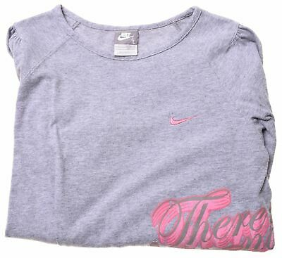 NIKE Girls Top Long Sleeve 12-13 Years Large Grey Cotton  KJ02