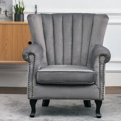 Grey Chesterfield Wing Back Armchair Queen Anne High Back Fireside Winged Chair
