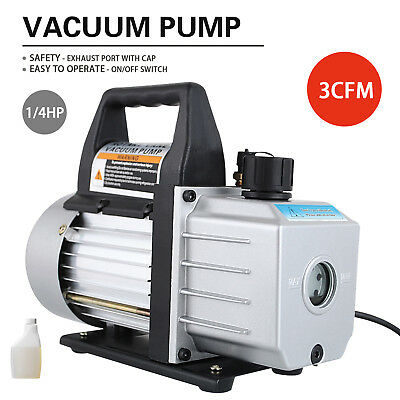 1/4 HP Deep Vacuum Pump 110V 3 CFM HVAC AC Refrigerant Charge Black