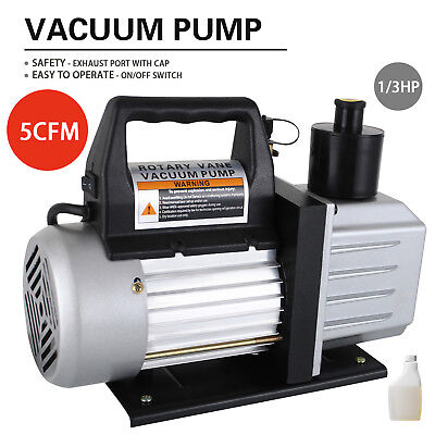 5 CFM 1/3HP Deep Vacuum Pump 110V HVAC AC Refrigerant Charge Black