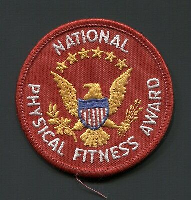 USA National Physical Fitness Award - vintage red patch with - six stars -