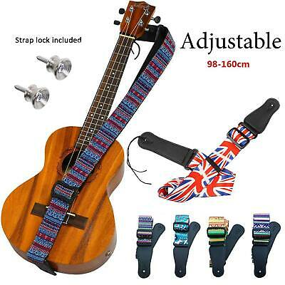 Acoustic Electric Guitar Bass Ukulele Strap Belt with 2 Locks Cushion Screws Kit