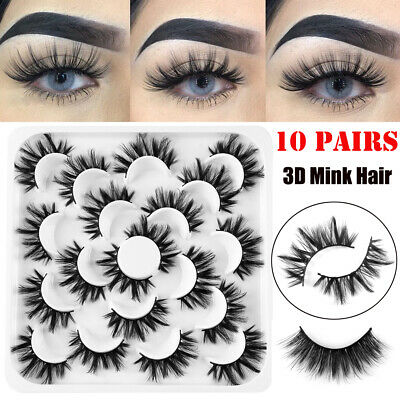 10 Pairs 3D Mink Soft Long Natural Thick Makeup Eye Lashes False Eyelashes