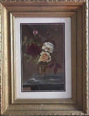 Artist  Unknown  signed Floral Oil Painting Vintage