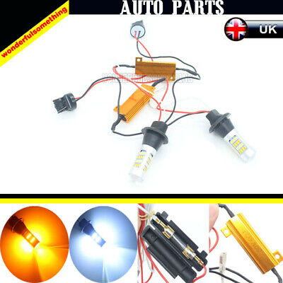 2x 50W 7440 T20 2835 Canbus Turn Signal Light Kit Dual-Color Switchback LED DRL