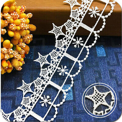 1yd Water Soluble Flower Star Lace Trim Ribbon Applique Embroidered Sewing Craft