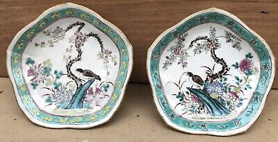 Pair Footed Bowl Cup Antique Chinese Porcelain Birds Flowers 19thC Signed