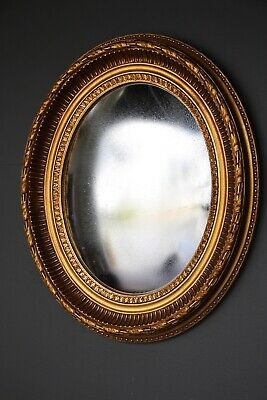 English 18th century style Georgian convex mirror ornate gold gilt frame carved