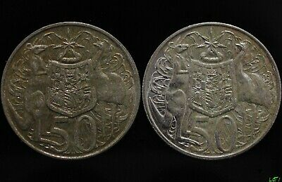 2 x 1966 Australian Round Fifty 50 Cent Coins SCRAP ONLY 80%  Silver. #2