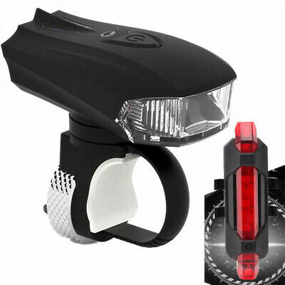 MTB Bike Bicycle Cycling USB Rechargeable LED Head Front Light + Rear Tail Lamp