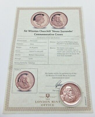 Sir Winston Churchill 'Never Surrender' Commemorative Crown - London Mint