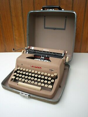 Vintage 1956 Royal Quiet Deluxe Tan Portable Typewriter and Case Excellent