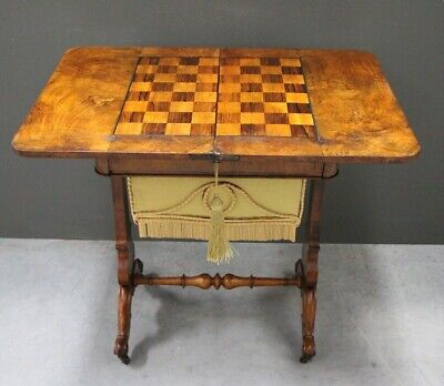 Antique French Louis Philippe carved walnut chess games table 1840 inlay ornate