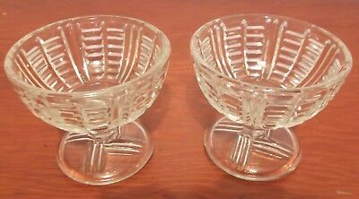 Pair of Vintage Pressed Glass Footed Desert/Trifle Bowls