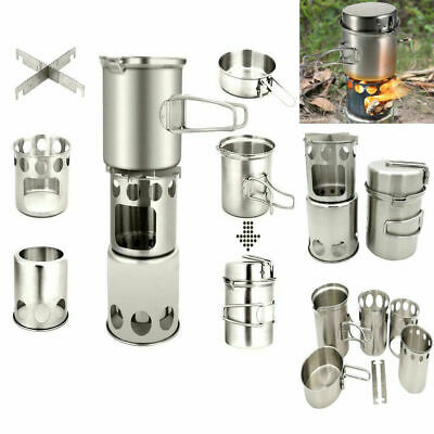 Outdoor Camping Stove Cooking Pot Set Stainless Steel Tableware Cookware Tools