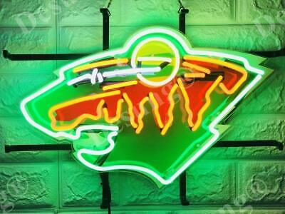 "New Minnesota Wild Bar Neon Light Sign 17"" HD Vivid Printing Technology"