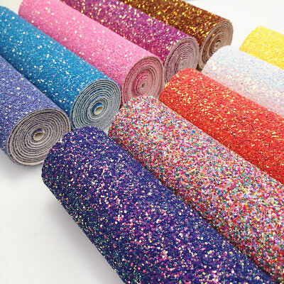 Pastel Candy Extra Chunky Glitter Bow Fabric Leather Sparkly Craft Material