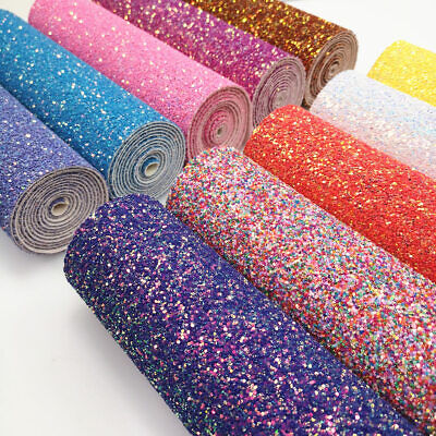 Pastel Candy Extra Chunky Glitter Fabric Leather for Bows Crafts Premium Quality