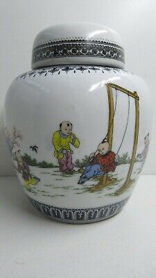 Famille Rose Chinese Hand Painted Ginger Jar  Cantonese