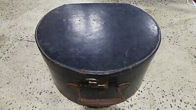 Antique Black Leather Hat Box Suitcase Port