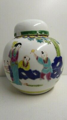 Famille Rose Chinese Hand Painted Ginger Jar No.5 Cantonese