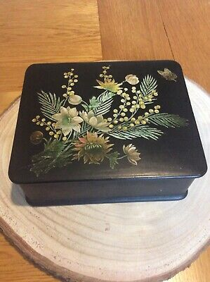 antique papier mache Black Lacquered Trinket Box - Flower And Butterfly.